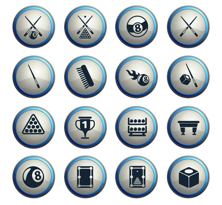 billiard vector icons for web and user interface design Иллюстрация