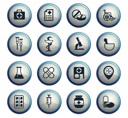 pharmacy vector icons for web and user interface design