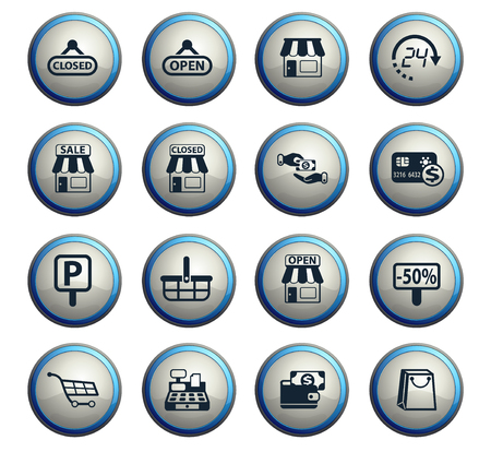 shop vector icons for web and user interface design Stockfoto - 109049102