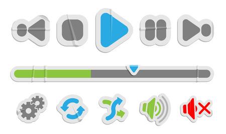 Icônes de papier de contrôle audio vidéo. Boutons de contrôle multimédia