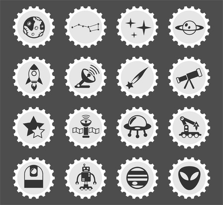 space web icons stylized postage stamp for user interface design