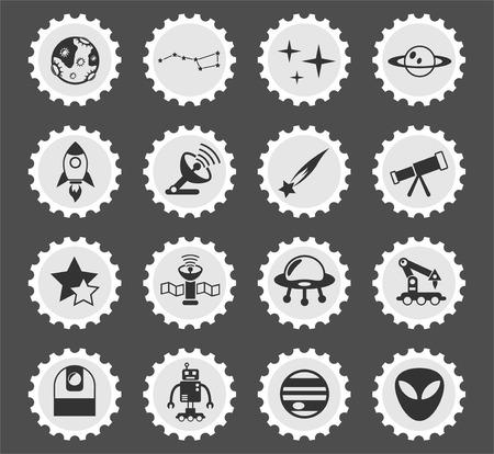 timbre-poste stylisé icônes web espace pour la conception de l'interface utilisateur