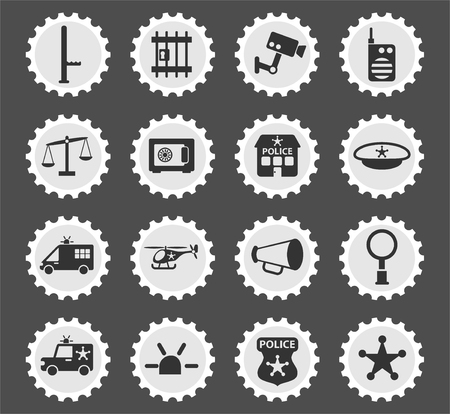 police department web icons stylized postage stamp for user interface design Illustration