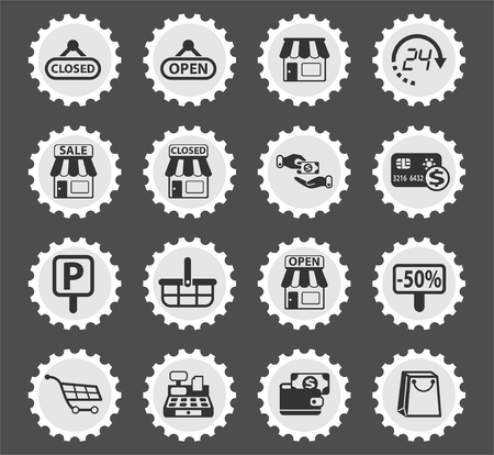 shop web icons stylized postage stamp for user interface design Stock Illustratie