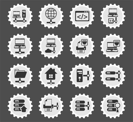 server web icons stylized postage stamp for user interface design