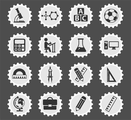 school vector icons for web and user interface design Illustration