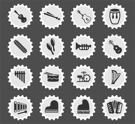musical instruments web icons stylized postage stamp for user interface design Illustration