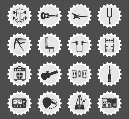 guitar and accessories web icons stylized postage stamp for user interface design