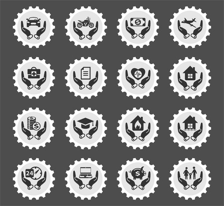 insurance web icons stylized postage stamp for user interface design
