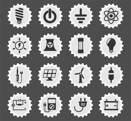 electricity web icons stylized postage stamp for user interface design Illustration