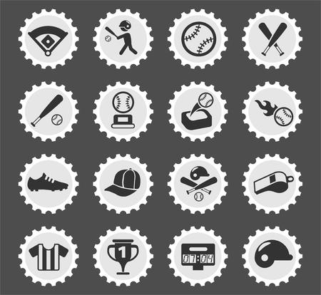 baseball web icons stylized postage stamp for user interface design Illusztráció