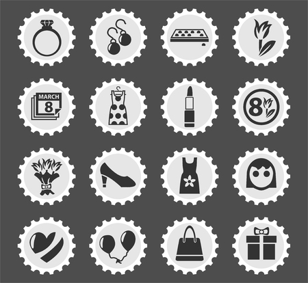 8 march web icons stylized postage stamp for user interface design Çizim