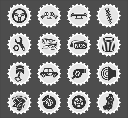 auto tuning web icons stylized postage stamp for user interface design