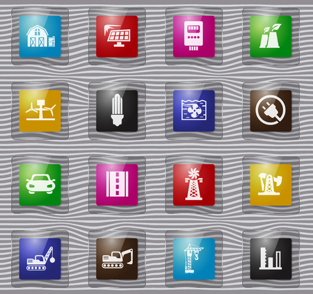 Industry vector glass icons for user interface design