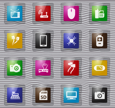 Home appliances vector glass icons for user interface design Zdjęcie Seryjne - 110200411