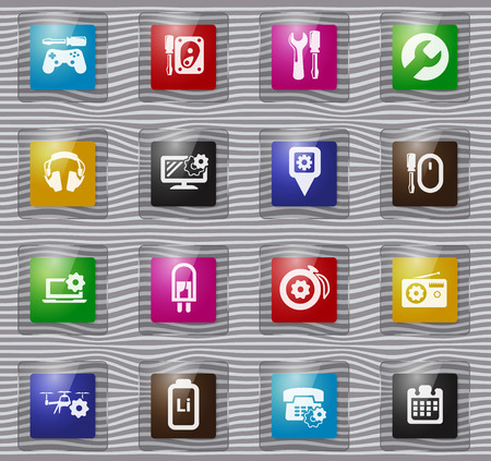 Electronic glass icons set for web sites and user interface