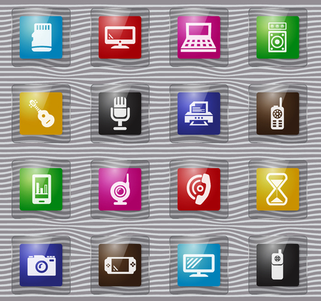 Home appliances vector glass icons for user interface design