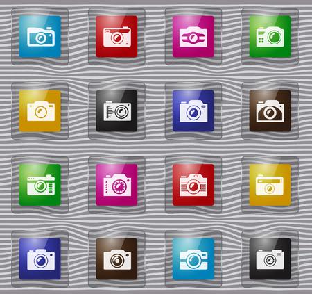 Photo camera glass icon set for web sites and user interface Ilustración de vector