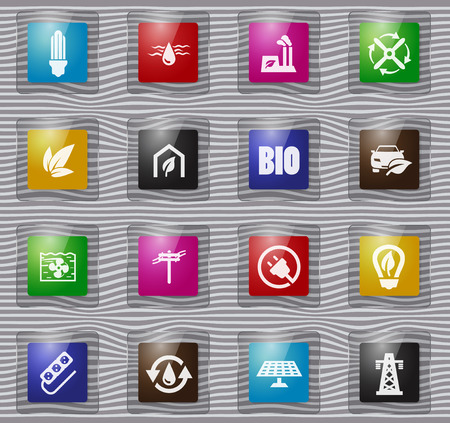 Alternative energy glass icons set for web sites and user interface Illustration