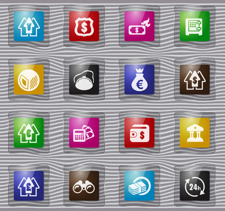 Business vector glass icons for user interface design