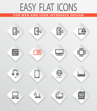 Mobile connection flat icons for user interface design