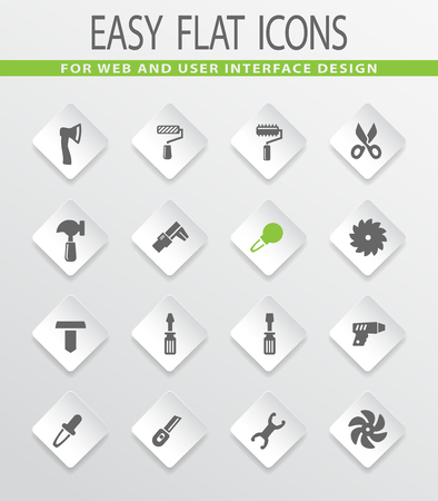 Work tools flat vector icons for user interface design Illustration