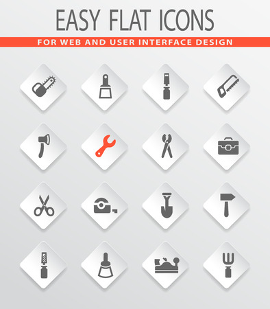 Work tools flat vector icons for user interface design Иллюстрация