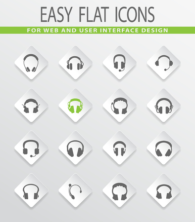 Headphones web icons for user interface design