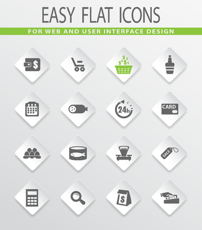 Grocery store flat icons for user interface design
