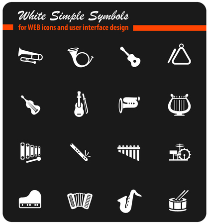 musical instruments white web icons for user interface design Illustration