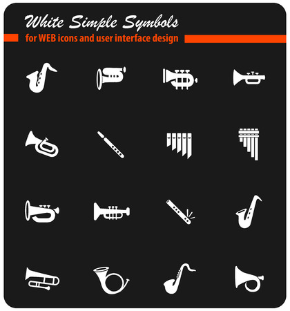 wind instruments web icons for user interface design