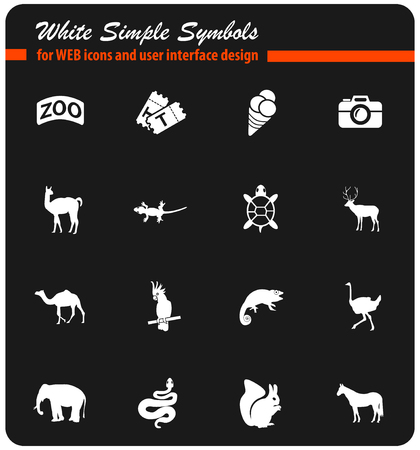 zoo white web icons for user interface design