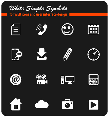 social media white vector icons for web and user interface design