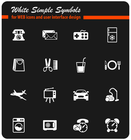 hotel room service vector icons for web and user interface design