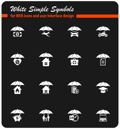 insurance white vector icons for web and user interface design Illustration