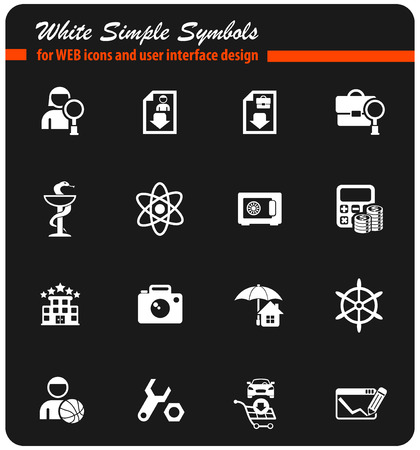 job search white vector icons for web and user interface design Illustration