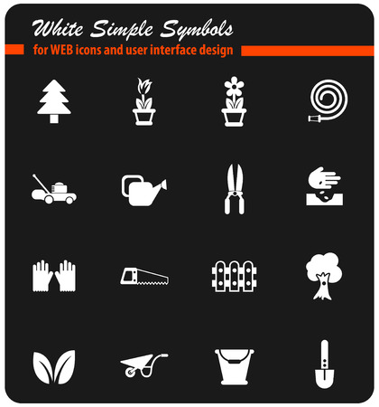 landscape design vector icons for web and user interface design Çizim