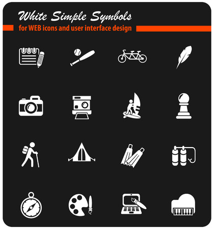 leisure web white icons for user interface design