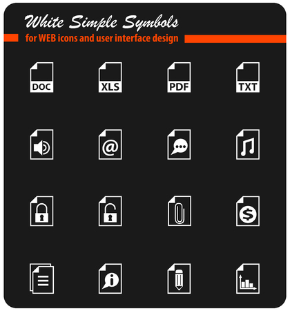 document white vector icons for web and user interface design
