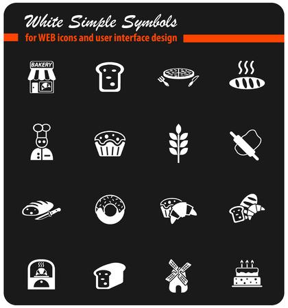 icônes web blanches de boulangerie pour la conception d'interface utilisateur