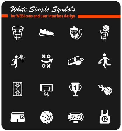 basketball vector icons for web and user interface design
