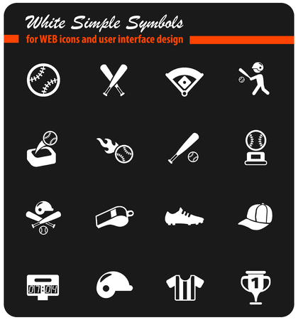 baseball white vector icons for web and user interface design