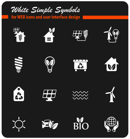 alternative energy vector white icons for web and user interface design