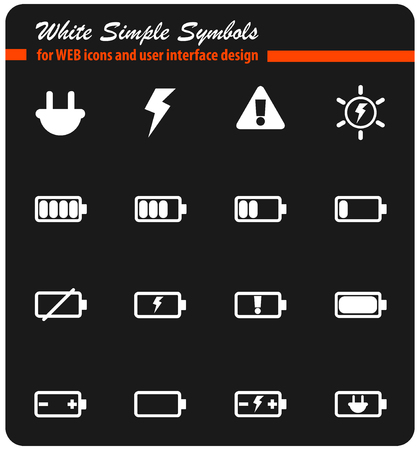 battery whitevector icons for web and user interface design