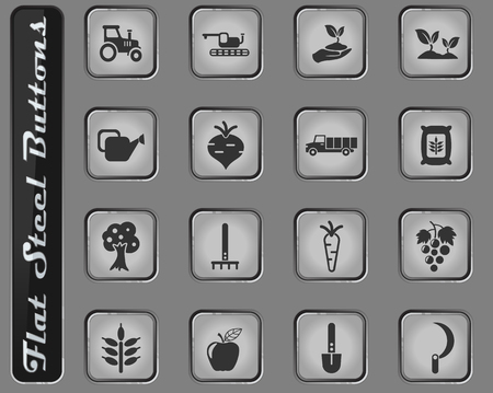 agricaltural vector web icons on the flat steel buttons