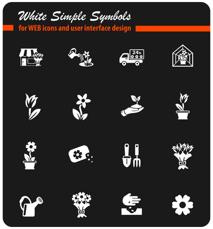 flowers web icons for user interface design