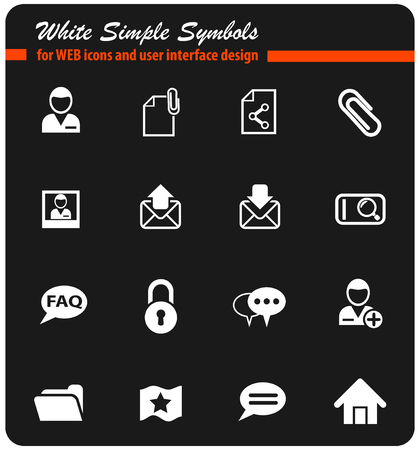 forum interface white web icons for user interface design Illustration