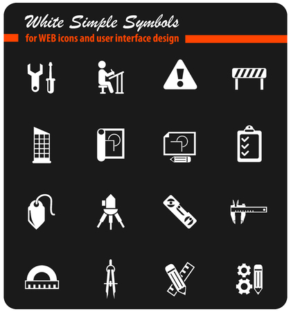 engineering white vector icons for web and user interface design