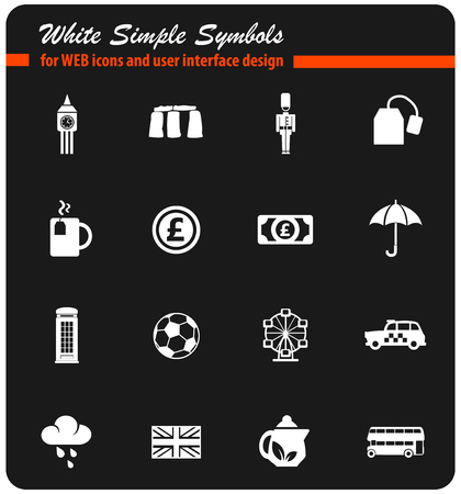 england white web icons for user interface design