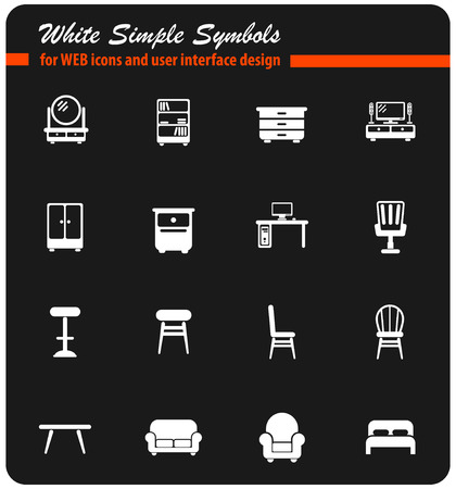 furniture vector icons for web and user interface design